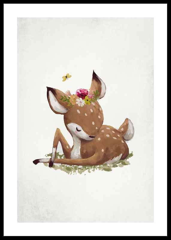 Watercolor Sleepy Deer-0
