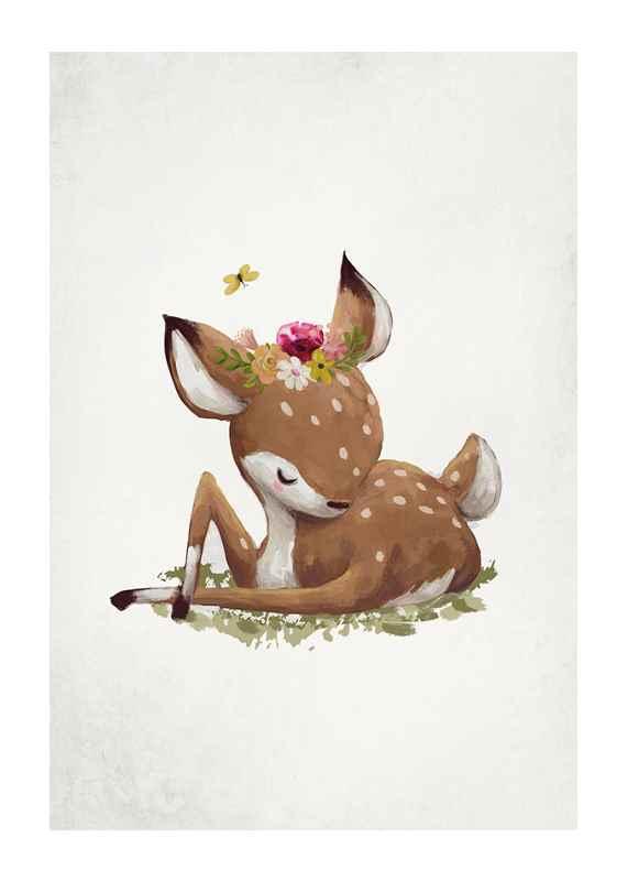 Watercolor Sleepy Deer-1