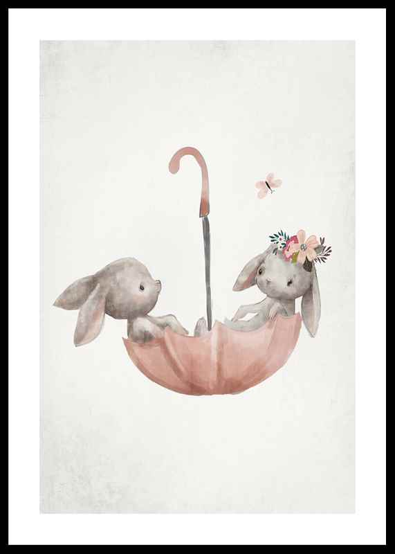 Watercolor Rabbit Friends
