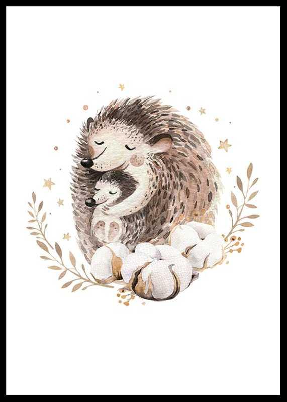 Watercolor Hedgehog Family